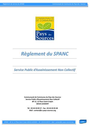 Règlement de service du SPANC de la Communauté de Communes du Pays des Sources