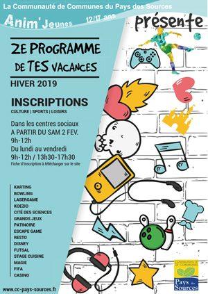 Le programme des vacances d'hiver 2019