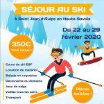L'Anim'Jeunes organise un séjour au ski en Haute-Savoie à Saint-Jean-d'Aulps du 22 au 29février 2020.